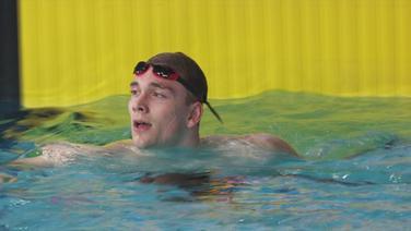 Henning Mühlleitner nach dem Finale im Schwimmen.