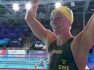 Sarah Sjöström freut sich über ihren Sieg.