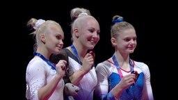 Die Medaillengewinnerinnen im Pferdesprung bei den European Championships