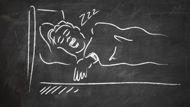 Skizze  einer schlafenden Person.