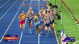 Läufer vom 3000 m Hindernis-Lauf.