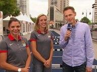 Frank Busemann mit den beiden Athletinnen, Pamela Dutkiewicz und Cindy Roleder.