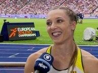 Läuferin, Laura Müller im Interview nach ihrem Vorlauf.