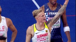 Gregor Traber freut sich über den Einzug in das Final über 110m Hürden bei den European Championships