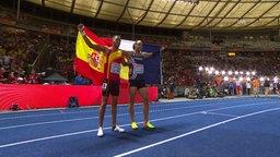 Pascal Martinot-Lagarde und Sergej Schubenkow nach dem Finallauf über110m Hürden