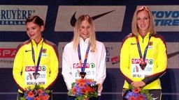 Siegerehrung der 110m Hürden der Frauen bei den European Championchips