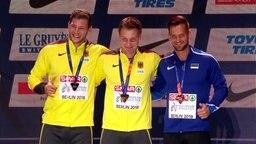 Die Siegerehrung für das Speerwerfen der Männer bei den European Championships