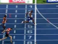 Die britische Staffel gewinnt Gold beim 4x100m der Männer