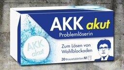 """Eine Medikamentenverpackung mit der Aufschrift """"AKK akut""""."""