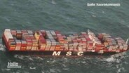"Aerial view of the ""MSC Zoe"" with already fallen containers."