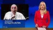 In einem Nachrichtenstudio eine Moderatorin und auf dem Bidlschirm ist der Vatikan abgebildet.