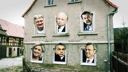 Eine Fotocollage: ein Haus und aus jedem Fenster schaut ein anderer rechter Politiker.