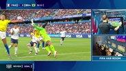Schiedsrichterin schaut auf einen Monitor im Spiel Brasilien gegen Frankreich.