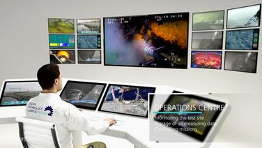 Ein animiertes Bild zeigt das Operations Center des Ocean Technology Campus