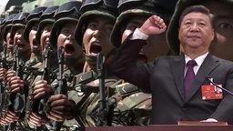 Xi Jingping und chinesische Soldaten