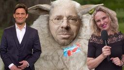Christian Ehring, Andreas Kalbitz als Schaf und Reporterin Katja Kreml