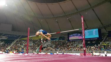 Maicel Uibo springt über eine Stange im Zehnkampf-Hochsprung.