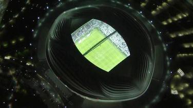 Ein WM-Stadion in Katar aus der Vogelperspektive.