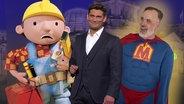 Ein Mann im Superman-Kostüm vor einer Schlange von Menschen, die bei einer Wohnungsbesichtigung anstehen