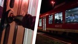 Einem abfahrenden Zug gehen die Lichter aus.