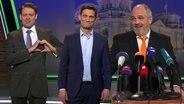 Christian Ehring steht mit Max Giermann und Torsten Sträter