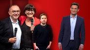 Chrisitan Ehring steht neben Norbert Walter-Borjans, Saskia Esken und Kevin Kühnert