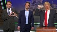 Max Giermann als Donald Trump und sein Übersetzer.