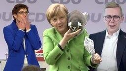 Merkel mit Äffchen auf der Schulter