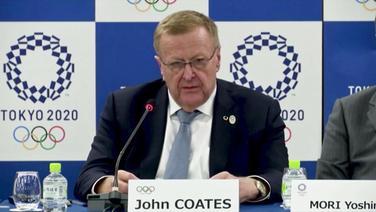 IOC-Mitglied John Coates bei einer Pressekonferenz in Tokio.