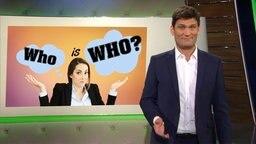 """Christian Ehring, im Hintergrund eine Grafik mit der Aufschrift """"Who is Who?"""""""