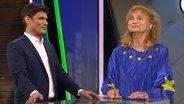 Christian Ehring und Petra Nadolny als Frau Europa im Studio.