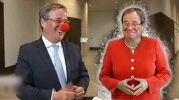 Armin Laschet mit Clownnase und als Angela Merkel