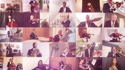Musiker musizieren gemeinsam via Video.