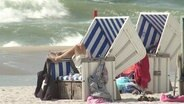 Blick auf einen weißen Sandstrand, auf dem zwei Strandkörbe stehen. Aus dem vorderen Strandkorb hängen zwei Beine zum sonnen. Drum herum liegen Taschen oder Schuhe. Im Hintergrund erkennt man Wellen der Nordsee, wie sie etwas Gischt hochwirbeln.