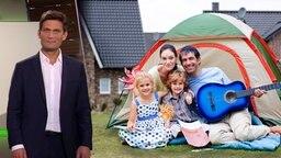 Christian Ehring und im Hintergrund eine Familie vor einem Campingzelt.