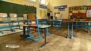 Leeres Klassenzimmer mit hochgestellten Stühlen