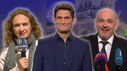 Reporterin Katja KReml, der Moderator Christian Ehring und Torsten Sträter.