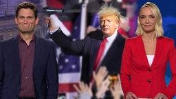 Eine Person mit Donald Trump Schutzmaske.