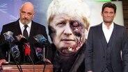 Ein Mann hinter einem Rednerpult, hinter ihm das Konfertei von Boris Johnson und der Union Jack.