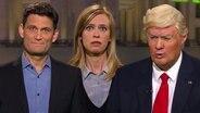Christian Ehring, Kirstin Warnke und Max Giermann als Donald Trump.