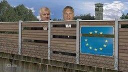Seehofer und Orban hinter einem europäischen Grenzzaun.