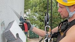 Nach dem Ende der Brutzeit haben Fassadenkletterer der Firma Ropeworx alle Hände voll zu tun, um die Spechtlöcher wieder zu verschließen, bevor eindringender Regen zu Bauschäden führt.  © NDR/Güven Purtul