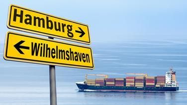 Ein Containerschiff, vor zwei in entgegengesetzte Richtungen weisende Schilder, mit der Aufschrift Hamburg und Wilhelmshaven (Montage) © fotolia Fotograf: pitrs, N-Media-Images