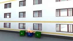 Grafik zeigt den Ausschnitt eines mehrstöckigen Hauses. Auf der Fassade sind unter- und oberhalb des ersten Stockes gelbe Streifen eingezeichnet. Sie stellen sogenannte Brandriegel dar. Davor steht eine brennende Mülltonne. © NDR