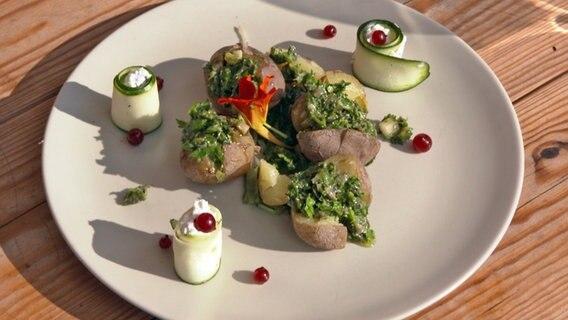 "Rezept ""Runzelkartoffeln mit Salsa verde und Zucchinirollen""   NDR.de - Ratgeber - Kochen"