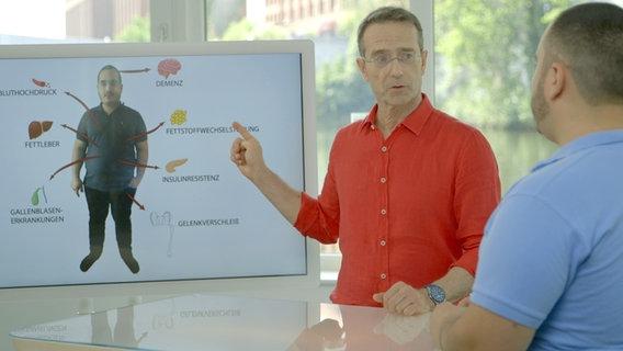 Ernährungs-Doc Riedl zeigt seinem Patienten auf einem Bildschirm die Folgen von Adipositas. © NDR