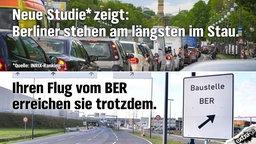 Neue Studie zeigt: Berliner stehen am längsten im Stau. Ihren Flug vom BER erreichen sie trotzdem.
