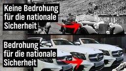 Hitlers Mercedes Benz: Bedrohung der nationalen Sicherheit. Moderner Mercedes Benz: Keine Bedrohung der nationalen Sicherheit