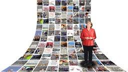 Bundeskanzlerin Merkel vor einer Tapete mit extra 3-Bildbeiträgen