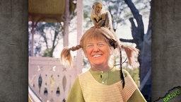 Donald Trump mit Pippi Langstrumpf Zöpfen und dem Affen Herrn Nilsson auf dem Kopf.